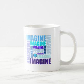 'Imagine Peace' Blue Coffee Mugs