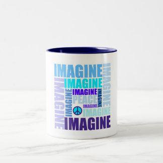 'Imagine Peace' Blue Coffee Mug