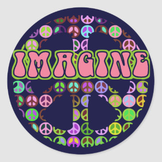 Imagine Peace Classic Round Sticker