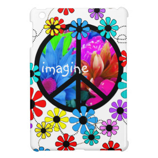 Imagine Peace Symbol and Retro Flowers iPad Mini Case