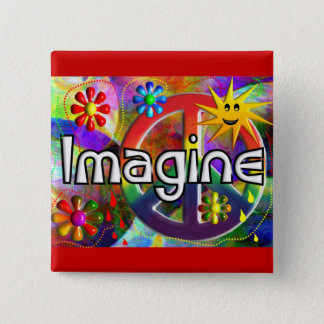 """Imagine"" Psychadelic 70's Gifts 2 Inch Square Button"