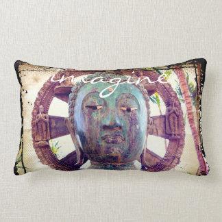 """Imagine"" Quote Asian Turquoise Metal Statue Photo Lumbar Pillow"