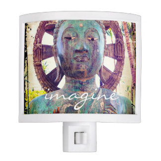 """Imagine"" Quote Asian Turquoise Statue Head photo Night Lite"