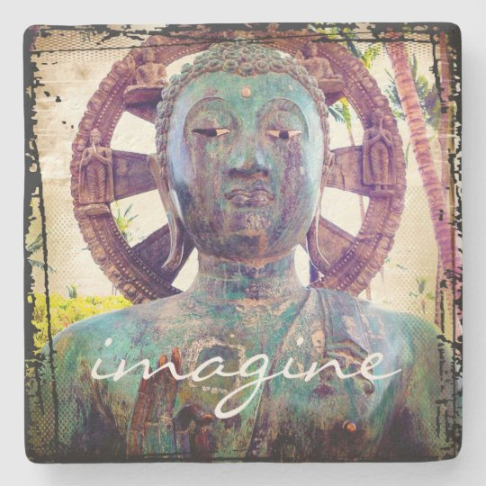 """Imagine"" Quote Asian Turquoise Statue Head Photo Stone Coaster"