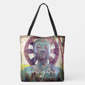 """Imagine"" quote turquoise statue photo tote bag"