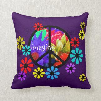 Imagine Retro Peace Symbol Pillow