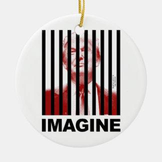Imagine Trump Behind Bars Ceramic Ornament