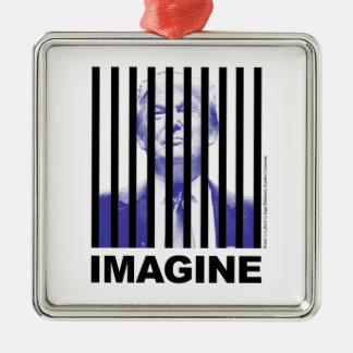 Imagine Trump Behind Bars Metal Ornament