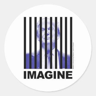 Imagine Trump Behind Bars Round Sticker