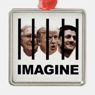 Imagine Trump, McConnell and Ryan Behind Bars Silver-Colored Square Ornament