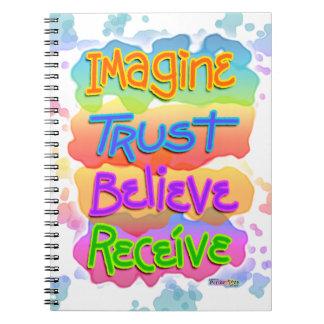 Imagine Trust Belief Receive Inspirational Noteboo Spiral Note Book