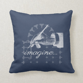 Imagine Vintage Fountain Pen Cathedral Navy Pillow