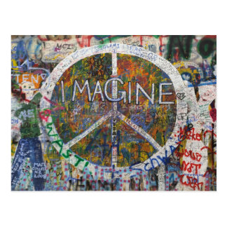 imagine wall in prague postcard