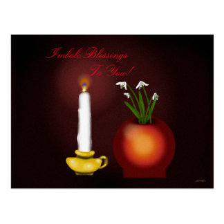 Imbolc Imbolg Candle and Snowdrops Brid Brighid Postcard