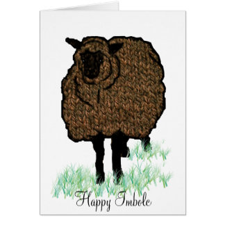 Imbolc Knitted Sheep Card