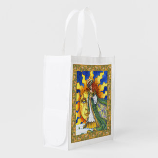 Imbolc-return of the sun reusable grocery bags