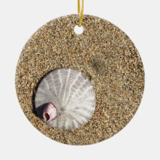 IMG_0578.JPG  Sandollar seashell on beach Ceramic Ornament