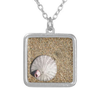 IMG_0578.JPG  Sandollar seashell on beach Silver Plated Necklace