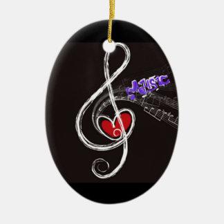 IMG_1857.JPG customizable  Music note designed Ceramic Oval Ornament