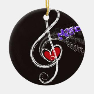 IMG_1857.JPG customizable  Music note designed Round Ceramic Ornament
