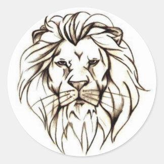 IMG_7779.PNG brave lion design Classic Round Sticker
