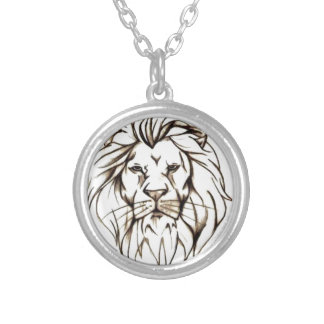 IMG_7779.PNG brave lion design Silver Plated Necklace