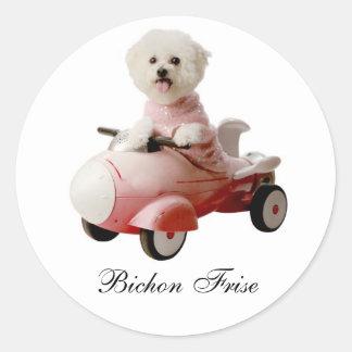 IMG_9658-F1 copy, Bichon Frise Round Sticker