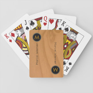 imitation of wood grains monogrammed playing cards