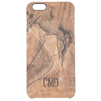 Imitation Wood With Knots Monogram Clear iPhone 6 Plus Case