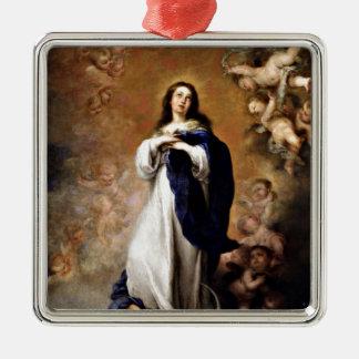 Immaculate Conception Silver-Colored Square Ornament