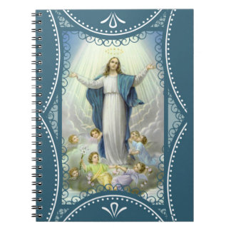 Immaculate Conception Virgin Mary Angels Clouds Spiral Notebooks