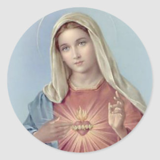 Immaculate Heart Mary Blessed Mother Classic Round Sticker