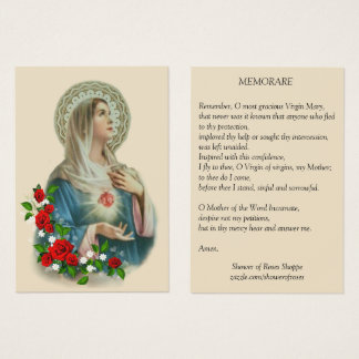 Immaculate Heart Mary  Roses Memorare Prayer Business Card