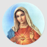 Immaculate Heart Mary Round Sticker