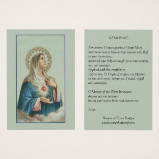 Immaculate Heart of Mary Memorare Prayer Business Card
