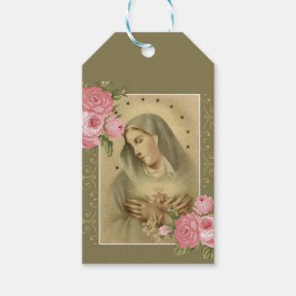Immaculate Heart of Mary Pink Roses Floral Gift Tags