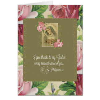 Immaculate Heart of Mary - roses/scripture Card