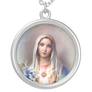 Immaculate Heart of Mary Silver Plated Necklace