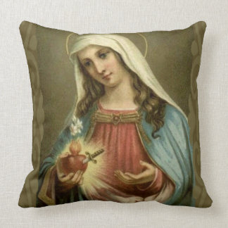 Immaculate Heart Virgin Mary Angels Clouds Throw Pillow