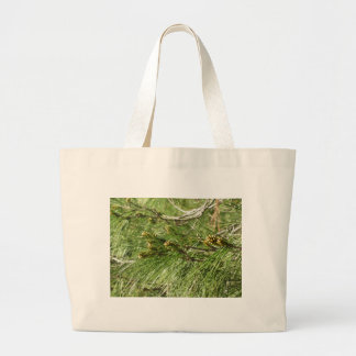 Immature male or pollen cones of pine tree large tote bag