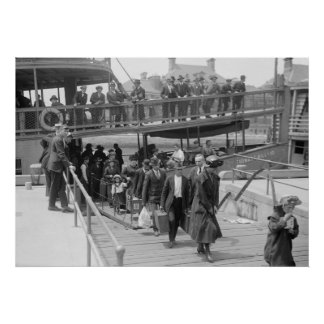 Immigrants Arriving at Ellis Island, early 1900s Poster