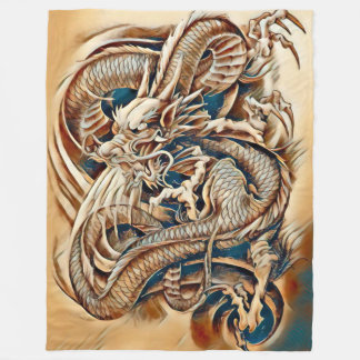 Immortal Chinese Dragon Emperor Airbrush Fleece Blanket