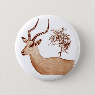 Impala Antelope Animal Wildlife Drawing Sketch 2 Inch Round Button