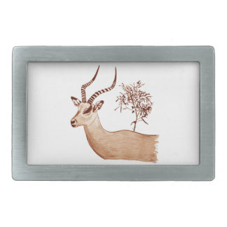 Impala Antelope Animal Wildlife Drawing Sketch Belt Buckle