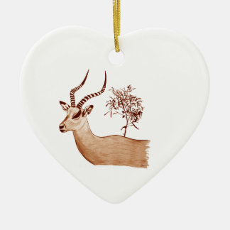 Impala Antelope Animal Wildlife Drawing Sketch Ceramic Ornament