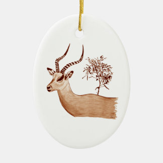 Impala Antelope Animal Wildlife Drawing Sketch Ceramic Ornament