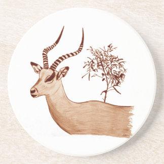 Impala Antelope Animal Wildlife Drawing Sketch Coaster