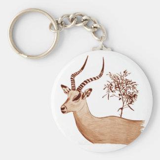 Impala Antelope Animal Wildlife Drawing Sketch Keychain