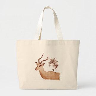 Impala Antelope Animal Wildlife Drawing Sketch Large Tote Bag