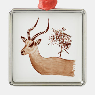 Impala Antelope Animal Wildlife Drawing Sketch Metal Ornament